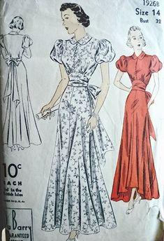 1930s EVENING DRESS PATTERN 2 HEMLINES HIGH LOW VERSION PETER PAN COLLAR DuBARRY 1926