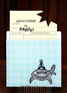 Newton's Nook Designs 2nd Anniversary Blog Hop!! =) Shark Party Invite by Larissa Heskett using Shark Bites Stamp Set by Newton's Nook Designs