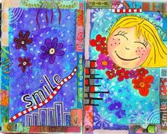 "Art Journal Online - Art Journaling by Mixed Media Artist Paulina   I like that idea... create an art journal page that smiles at you and makes you smile right back ... like your bright choice of "" happy"" colors and fun edging borders around your art journal pages"