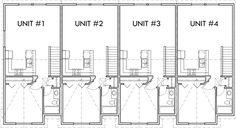Upper Floor Plan 2 for Multifamily house plans, reverse living house plans, D-441