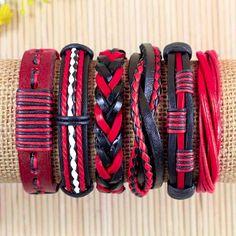Red Leather Bracelets For Women Gift For от BraceletStreetUSA