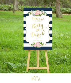 The KELLY . Welcome Wedding Ceremony Reception Sign .  Navy Stripes & Gold  Calligraphy . White Roses Blush pink Peonies Dusty Miller PDF
