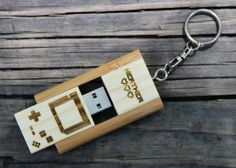 Personalized Bamboo 4 GB USB Wood Flash Drive Keychain - Nintendo 8 bit Game Controller by mini-Fab | Hatch.co #custom
