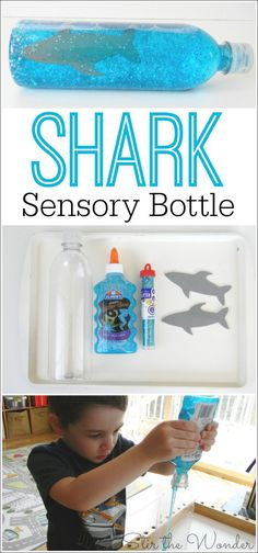 Make a Shark Sensory Bottle for an amazing, mess free sensory experience for kids of all ages! It makes a great calm down bottle too!