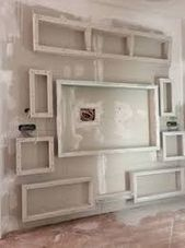 Niche Design, Tv Wall Design, Window Molding Trim, False Wall, Modern Tv Wall Units, Tv Wall Decor, Bedroom False Ceiling Design, Pallet Walls, Diy Furniture Projects
