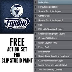 Free Action Set for Clip Studio Paint - Flyland Designs, Freelance Illustration and Graphic Design by Brian Allen - Clip Studio Paint Brushes, Oc Drawings, Layers Design, Art Tips, Free Brushes, Action, Graphic Design, Drawing Tutorials, Illustration