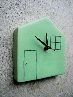 Reneé Boyd : Ceramic wall clock - green home