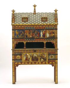 The Yatman Cabinet  Gothic Revival furniture designed by William Burges   Currently on display at the Victoria & Albert Museum, London