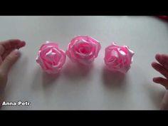 (460) Роза из атласной ленты 5 см / DIY Fabric Rose - YouTube