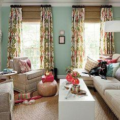 Pretty living room. Sherwin Williams Rainwashed at ModVintageLife.com
