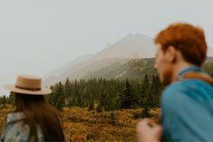 Kananaskis Engagement Photos on a hike during the summer near Banff Banff, Engagement Photos, Hiking, Summer, Beautiful, Walks, Summer Time, Trekking, Engagement Pics