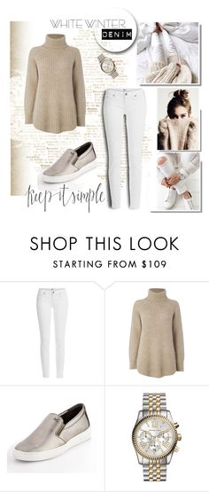 """""""Winter White Jeans"""" by lizzi-walton ❤ liked on Polyvore featuring Paige Denim, Noa Noa, MICHAEL Michael Kors, michaelkors, polyvorecontest and winterwhite"""