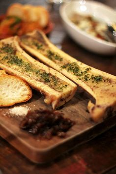 Roasted Bone Marrow at Relik Tapas Bar and Lounge * NOTE: pinned for the IDEA (since there is no recipe), would like to find one and try this! Veal Recipes, Gourmet Recipes, Appetizer Recipes, Appetizers, Cooking Recipes, Tapas Restaurant, Tapas Bar, Beef Dishes, Food Dishes