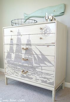 A painted ship silhouette and DIY rope pulls on a nautical dresser makeover - by Canary Street Crafts Furniture Projects, Furniture Makeover, Diy Furniture, Furniture Stores, Furniture Repair, Furniture Outlet, Painting On Furniture, Garden Furniture, Furniture Buyers