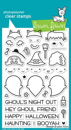 Get ready for a ghoul's night out! This set of 40 clear stamps contains everything you need to dress up your ghost as a pirate, vampire bat, cat, witch, Franken