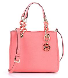 MICHAEL Michael Kors Cynthia Small Pink Leather Convertible Satchel Bag New NWT #MichaelKors #Satchel
