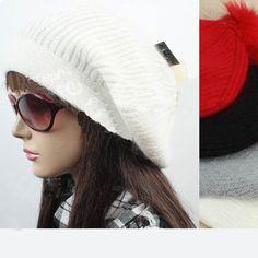 $21.99 White Faux Fur Design Pure Color Stylish Hat @ MayKool.com