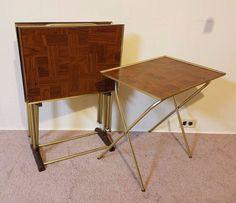 Lot 4 Vintage Snack TV Table Dinner Trays Retro Mid Century Modern Stand  Folding