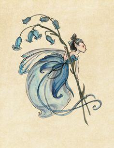 Midsummer Fairies Bluebell SMALL 8.5x11 Art Print by CaseyRobinArt, $20.00