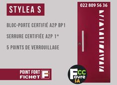 Porte blindée de maison STYLEA S #PORTE #STYLEA #GENEVE #SECURITE #CAMBRIOLAGE #VOL #POINTFORT #FICHET #GENEVE