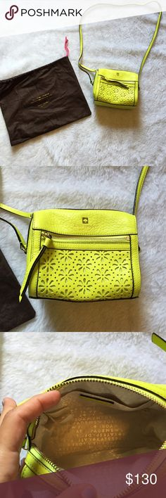 Kate spade lemon lime flower crossbody  Kate spade  purse  Lemon lime   carried for a week Please ask for additional pictures, measurements, or ask questions before purchase. No trades or other apps Ships next business day, unless noted in my closet  Five star rating Bundle for discount kate spade Bags Crossbody Bags