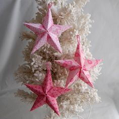 3 Puffy Fabric Origami Stars  Pink Ribbon by wendysorigami on Etsy, $10.00