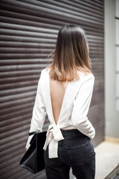 This Is The Jewelry You Need For Every Backless Look - Cool Chic Simple Cream White V-Neck Backless Blouse And Dark Grey Black Jeans
