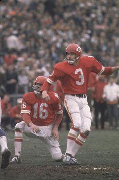 Super Bowl IV Kansas City Chiefs Jan Stenerud and QB Len Dawson in action vs Minnesota Vikings New Orleans LA 1/11/1970