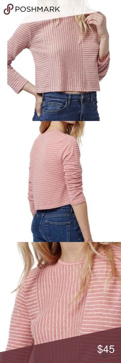 "Top Shop Crop Top 65% polyester 35% linen   Crop top knit in an ultra soft jersey blend the color is pink.   Length is 18""  and under the arms across is 18"" it is brand new Top Shop Tops Crop Tops"