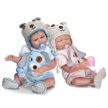 """22 """"zachte Siliconen Pop Reborn Twins Pop met Gratis Magneet Fopspeen Full Body Badend Reborn Pop Brinquedos XMAS Verjaardagscadeautjes(China (Mainland))"""