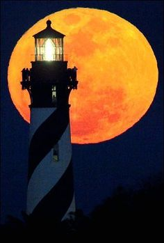Full moon at the St. Augustine Lighthouse in St. Augustine, Florida