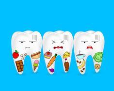 Sad cartoon tooth character with food. Illustration isolated on blue background.: comprar este vector de stock y explorar vectores similares en Adobe Stock Human Teeth, Dental Humor, Dental Care, Blue Backgrounds, Tooth, Mi Life, Sad, Concept, Cartoon