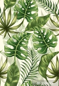 Tropical Art, Tropical Leaves, Tropical Plants, Tropical Flowers, Leave In, Jungle Pattern, Leaf Art, Watercolor Paintings, Illustration Art