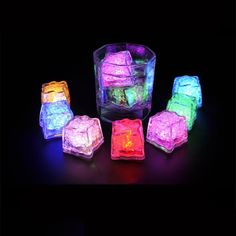 No Switch direct put in water LED Ice cake Color changing Flash for Wedding party club bar, Glowing Cube,Ice Led 1st Birthday Party Themes, Birthday Supplies, Wedding Vase Centerpieces, Wedding Centerpieces, Wedding Decorations, Ice Cube Lights, Led Ice Cubes, Colorful Cakes, Glow Sticks