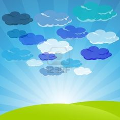 illustration of clouds in sky with landscape