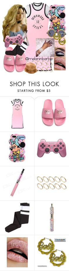 """""""I love to be weird , creative & Different with my style 🌈😛💕"""" by xmelaninprincessbarbiex ❤ liked on Polyvore featuring VFiles, ASOS, H&M, Lime Crime, Nicki Minaj and Prada"""