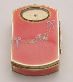 PINK GUILLOCHE ENAMEL COMPACT WITH WATCH.