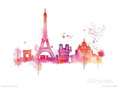 'Paris Paris Skyline, Eiffel Tower and Other Buildings' by Summer Thornton Painting Print Skyline Painting, Skyline Art, Paris Skyline, Horizon Paris, Thema Paris, Art Parisien, Painting Prints, Art Prints, Paintings