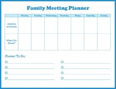 A free, printable family meeting planner that helps keep the family organized and the household running smoothly.