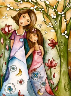 Mother and Daughter in the Forest - whimsical folk art print by Claudia Tremblay Claudia Tremblay, Art Fantaisiste, Art Populaire, Art Et Illustration, Mother And Child, Mother Mother, Whimsical Art, Watercolor Print, Oeuvre D'art