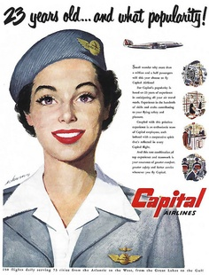 23 years old...and what popularity! Capital Airlines, that is :) #ad #1950s #fifties #vintage #airline #travel #plane #hostess #stewardess #flight #attendant