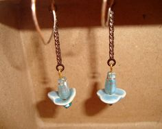 Flower Garden Earrings with Light Turquoise by LuDesignsCreations