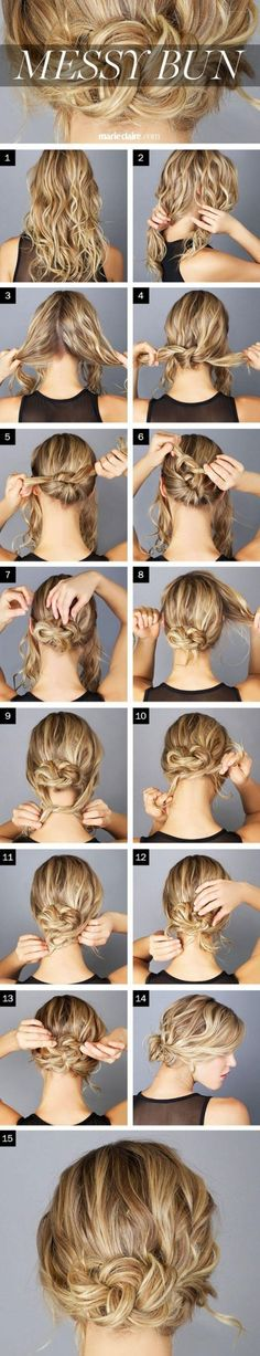 This easy, messy bun is a quick style for those busy days.
