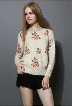Floral Print Fluffy Sweater - ok, I thought this was a joke at first when I saw this in my feed. Apparently it's not. People really like this?