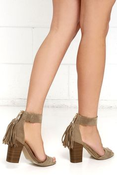 "Our job is to find the cutest of cute, and yours is to make finds like Fringe Finder Beige Suede Fringe Heels absolutely fabulous! Soft vegan suede is sleek and chic over a tapered toe strap, and matching ankle strap (with a bit of elastic for fit). 3"" heel zipper has a tassel pull."