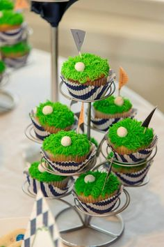 A golf themed birthday party for our son featuring golf themed treats, putting green cupcakes, golf tee table centerpieces and golf set party favors.