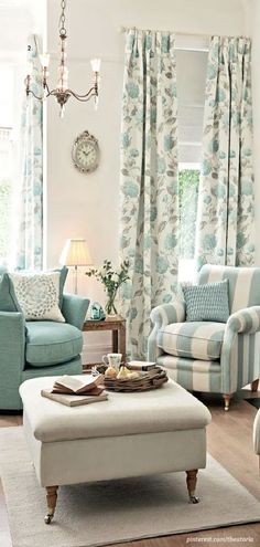 Patterned chair & Floral drapes. Love it! Doing this but, with a richer color scheme in our living room.