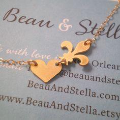 NOLA Love  Fleur de Lis and Heart Necklace   14k by BeauAndStella, $36.00