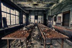 Workroom inside Hasard Cheratte, an abandoned Belgian coal mine