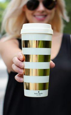 Kate Spade Thermal Mug - Gold Stripes Cheap Kate Spade, Cheap Stocking Stuffers, Kate Spade Outlet, Thermal Mug, Cute Mugs, Gold Stripes, Handbags Online, Fashion Bags, Womens Fashion